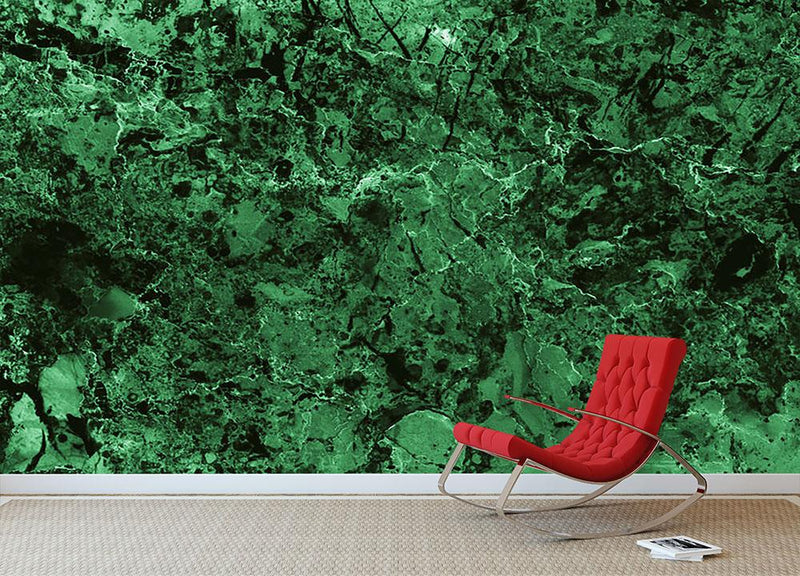 Green marble tiles seamless Wall Mural Wallpaper - Canvas Art Rocks - 1