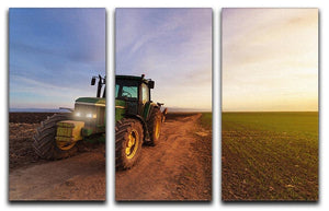 Green tractor 3 Split Panel Canvas Print - Canvas Art Rocks - 1