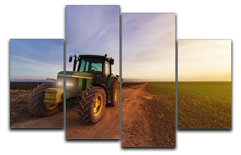 Green tractor 4 Split Panel Canvas  - Canvas Art Rocks - 1