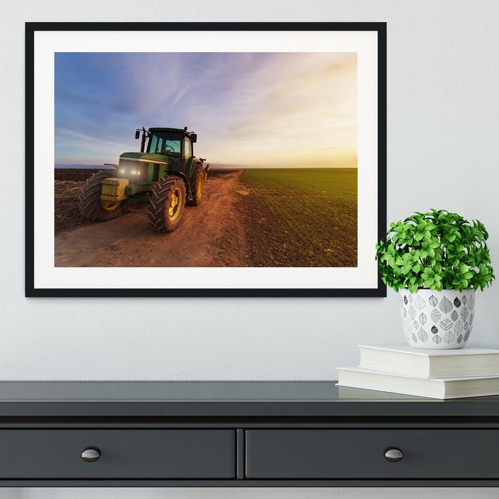 Green tractor Framed Print