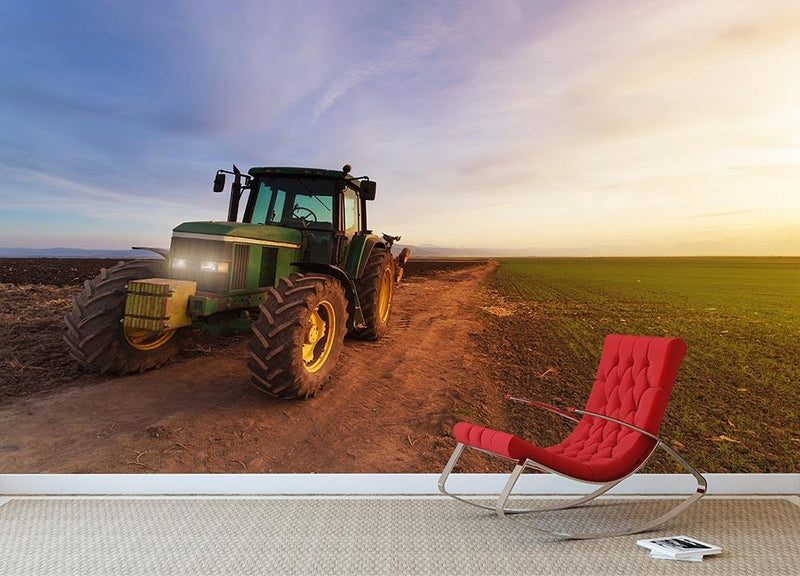 Green tractor Wall Mural Wallpaper - Canvas Art Rocks - 1