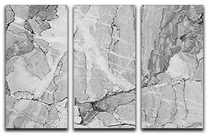 Grey Abstract Textured Marble 3 Split Panel Canvas Print - Canvas Art Rocks - 1