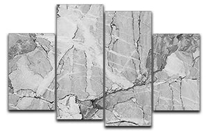 Grey Abstract Textured Marble 4 Split Panel Canvas - Canvas Art Rocks - 1