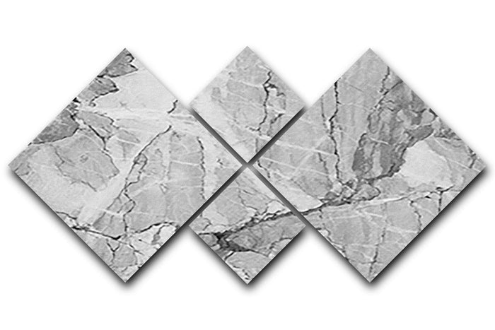 Grey Abstract Textured Marble 4 Square Multi Panel Canvas