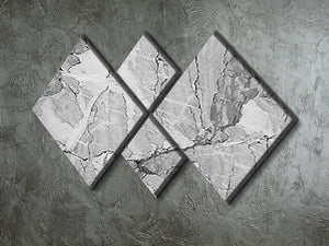 Grey Abstract Textured Marble 4 Square Multi Panel Canvas - Canvas Art Rocks - 2