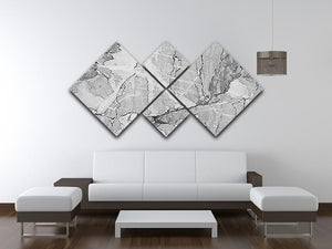 Grey Abstract Textured Marble 4 Square Multi Panel Canvas - Canvas Art Rocks - 3