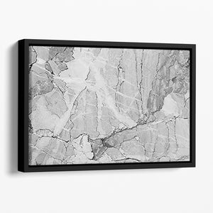 Grey Abstract Textured Marble Floating Framed Canvas - Canvas Art Rocks - 1