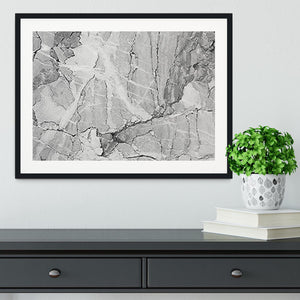 Grey Abstract Textured Marble Framed Print - Canvas Art Rocks - 1
