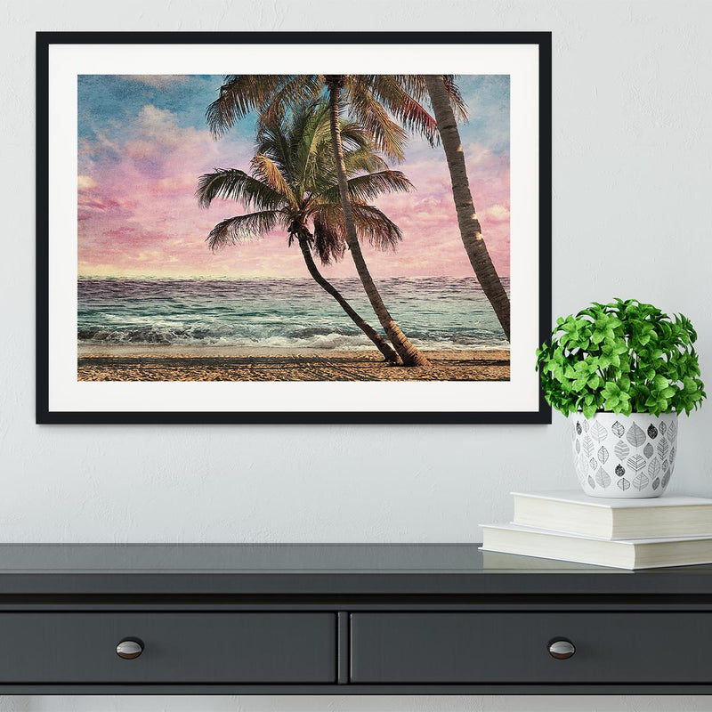 Grunge Image Of Tropical Beach Framed Print - Canvas Art Rocks - 1