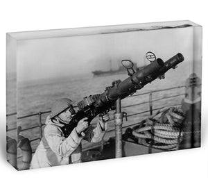 Gunner on a merchant ship Acrylic Block - Canvas Art Rocks - 1