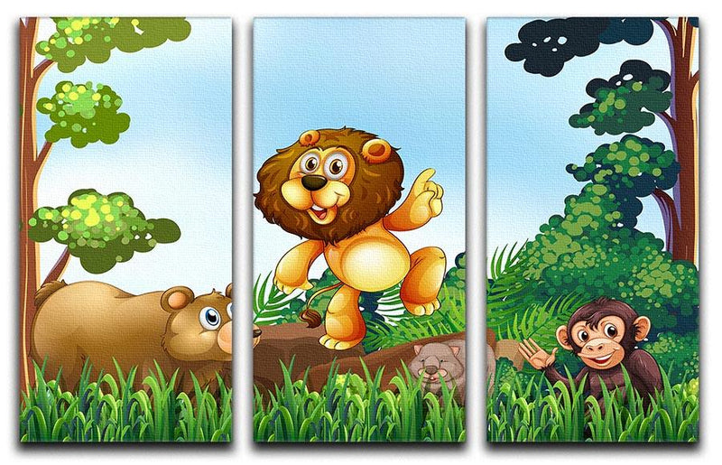 Happy animals living in the jungle 3 Split Panel Canvas Print - Canvas Art Rocks - 1