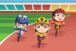 Happy kids in a bicycle race Wall Mural Wallpaper - Canvas Art Rocks - 1