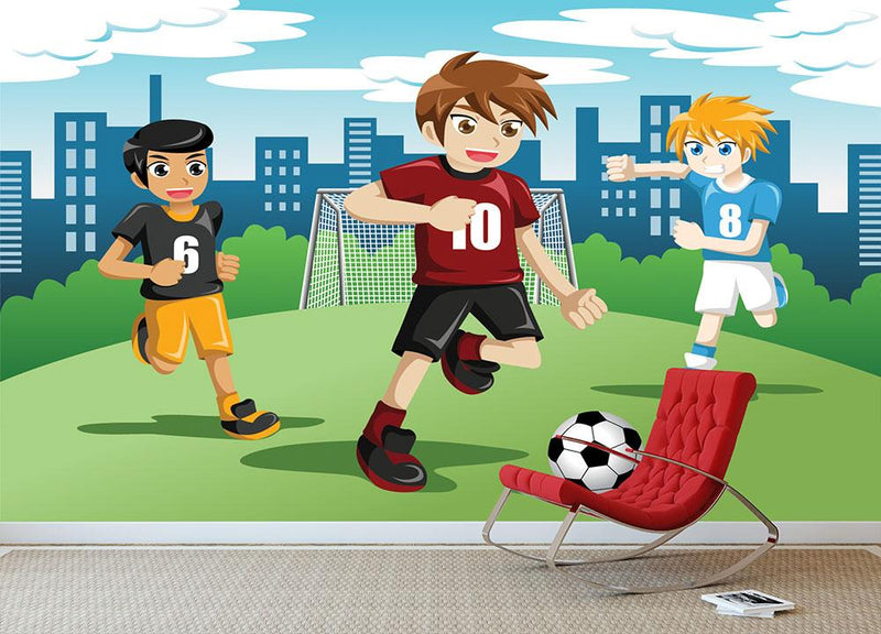 Happy kids playing soccer Wall Mural Wallpaper - Canvas Art Rocks - 1