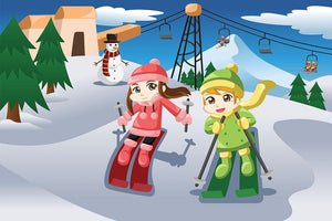 Happy kids skiing together Wall Mural Wallpaper - Canvas Art Rocks - 1