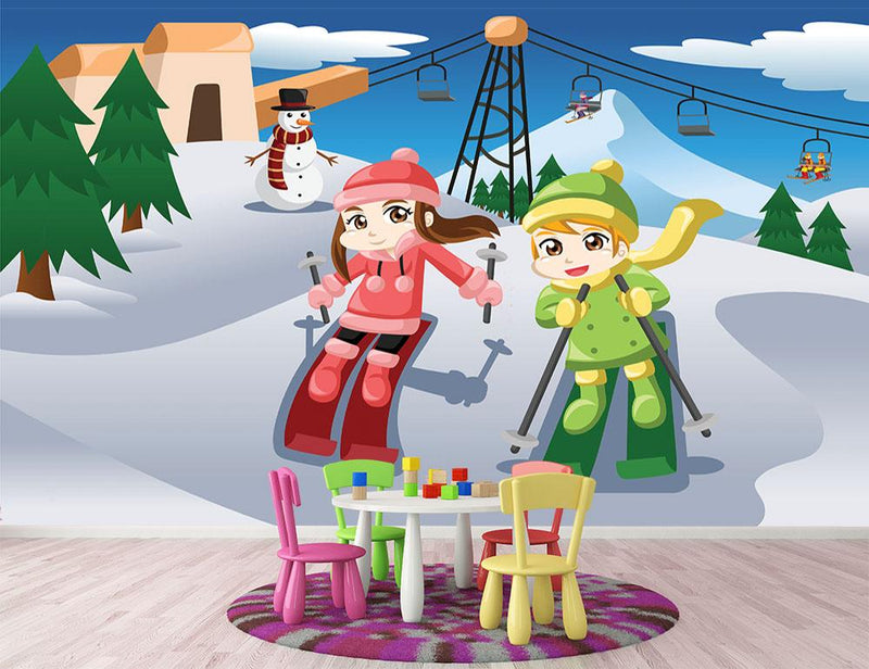 Happy kids skiing together Wall Mural Wallpaper - Canvas Art Rocks - 2