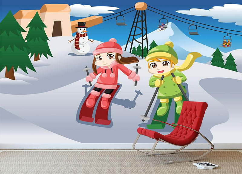 Happy kids skiing together Wall Mural Wallpaper - Canvas Art Rocks - 3