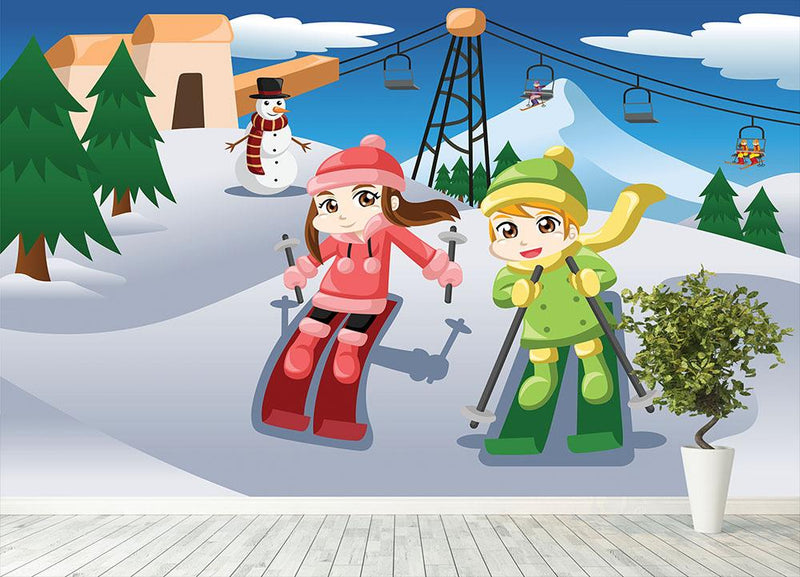 Happy kids skiing together Wall Mural Wallpaper - Canvas Art Rocks - 4