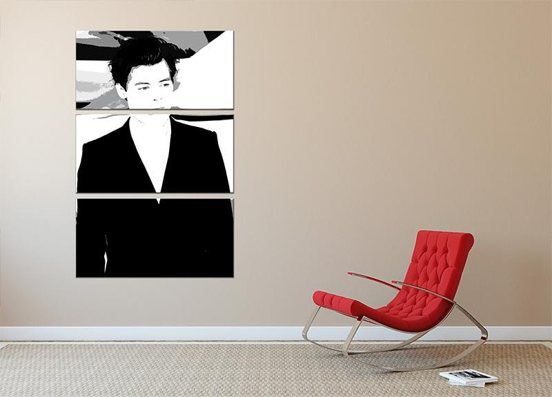 Harry Styles from One Direction Pop Art 3 Split Panel Canvas Print - Canvas Art Rocks - 2