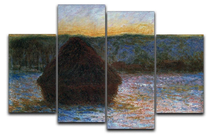 Haylofts thaw sunset by Monet 4 Split Panel Canvas
