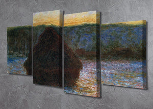 Haylofts thaw sunset by Monet 4 Split Panel Canvas - Canvas Art Rocks - 2