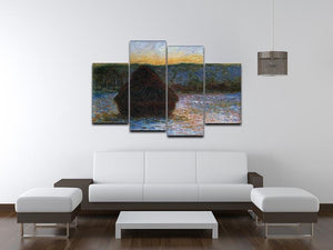 Haylofts thaw sunset by Monet 4 Split Panel Canvas - Canvas Art Rocks - 3