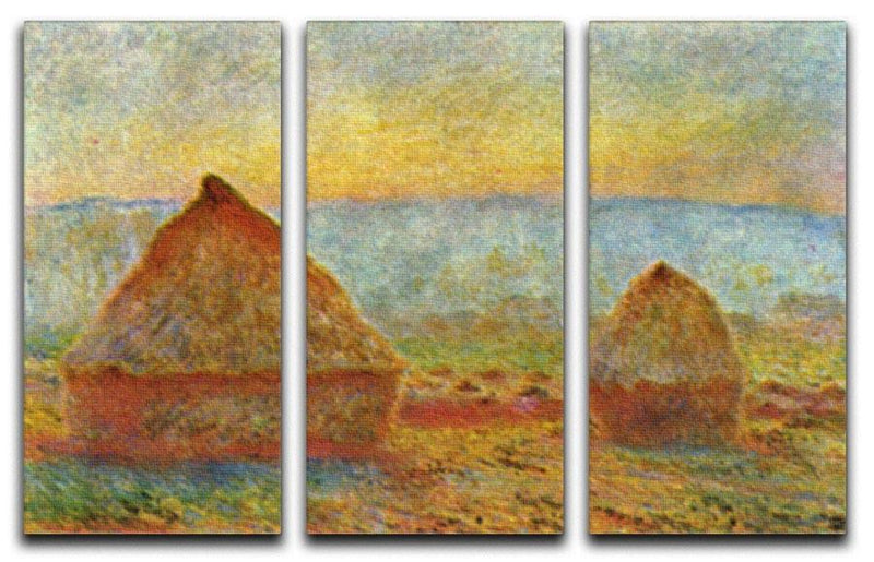 Haystack 1 by Monet Split Panel Canvas Print - Canvas Art Rocks - 4