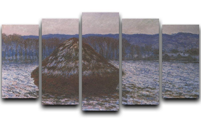 Haystacks 2 by Monet 5 Split Panel Canvas