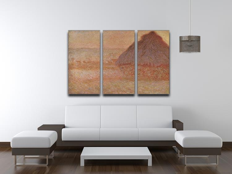 Haystacks at sunset by Monet Split Panel Canvas Print - Canvas Art Rocks - 4