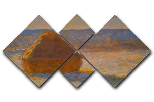 Haystacks in Snow by Monet 4 Square Multi Panel Canvas  - Canvas Art Rocks - 1
