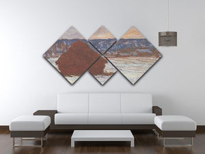 Haystacks snow covered the sky by Monet 4 Square Multi Panel Canvas - Canvas Art Rocks - 3
