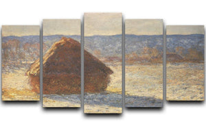 Haystacks snow morning by Monet 5 Split Panel Canvas  - Canvas Art Rocks - 1