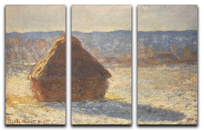 Haystacks snow morning by Monet Split Panel Canvas Print