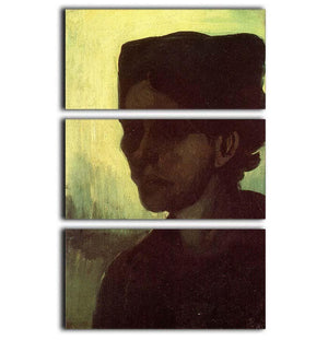 Head of a Young Peasant Woman with Dark Cap by Van Gogh 3 Split Panel Canvas Print - Canvas Art Rocks - 1