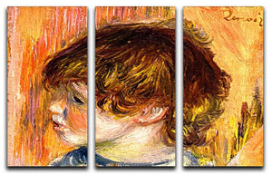 Head of a young girl by Renoir 3 Split Panel Canvas Print - Canvas Art Rocks - 1