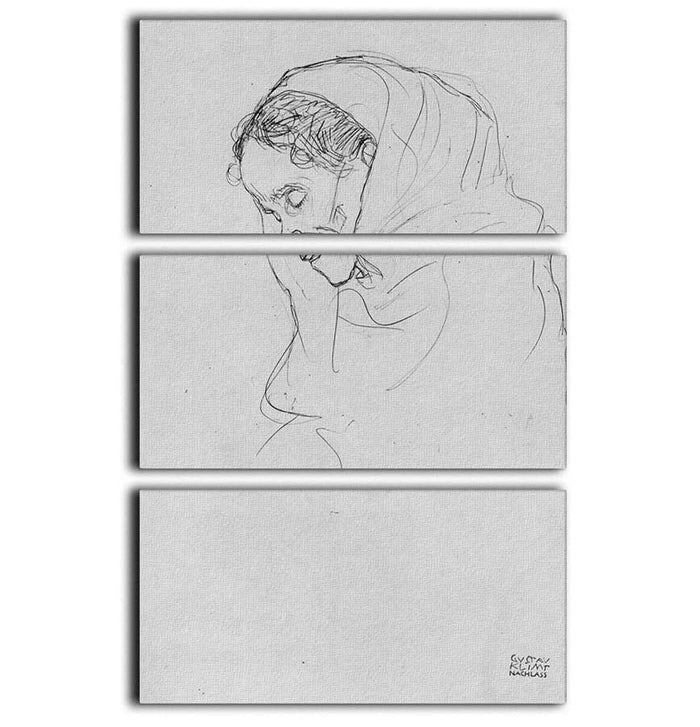 Head of an old woman in profile by Klimt 3 Split Panel Canvas Print