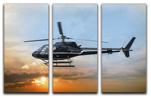 Helicopter for sightseeing 3 Split Panel Canvas Print - Canvas Art Rocks - 1