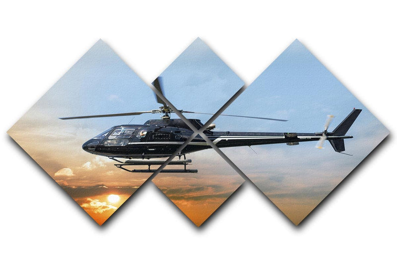 Helicopter for sightseeing 4 Square Multi Panel Canvas  - Canvas Art Rocks - 1