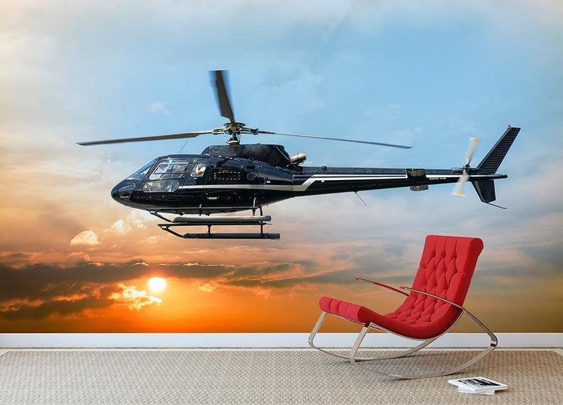 Helicopter for sightseeing Wall Mural Wallpaper - Canvas Art Rocks - 1