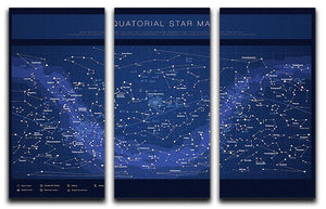 High detailed star map with names of stars contellations 3 Split Panel Canvas Print - Canvas Art Rocks - 1