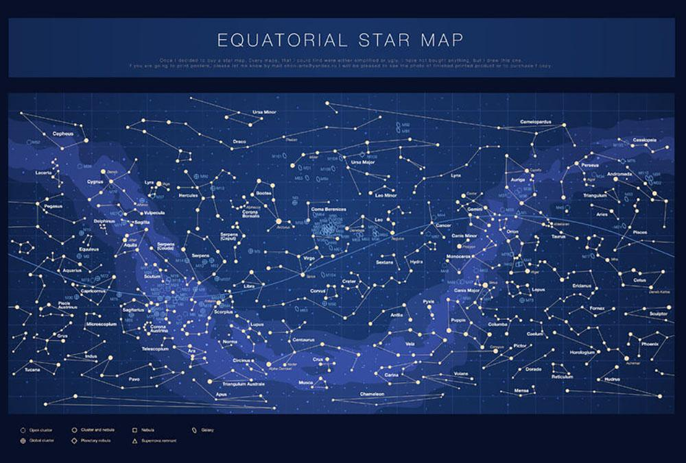 Star Map Art.High Detailed Star Map With Names Of Stars Contellations Wall Mural