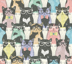 Hipster cute cats Wall Mural Wallpaper - Canvas Art Rocks - 1