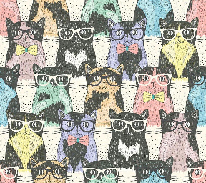 Hipster cute cats Wall Mural Wallpaper