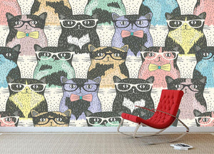 Hipster cute cats Wall Mural Wallpaper - Canvas Art Rocks - 2
