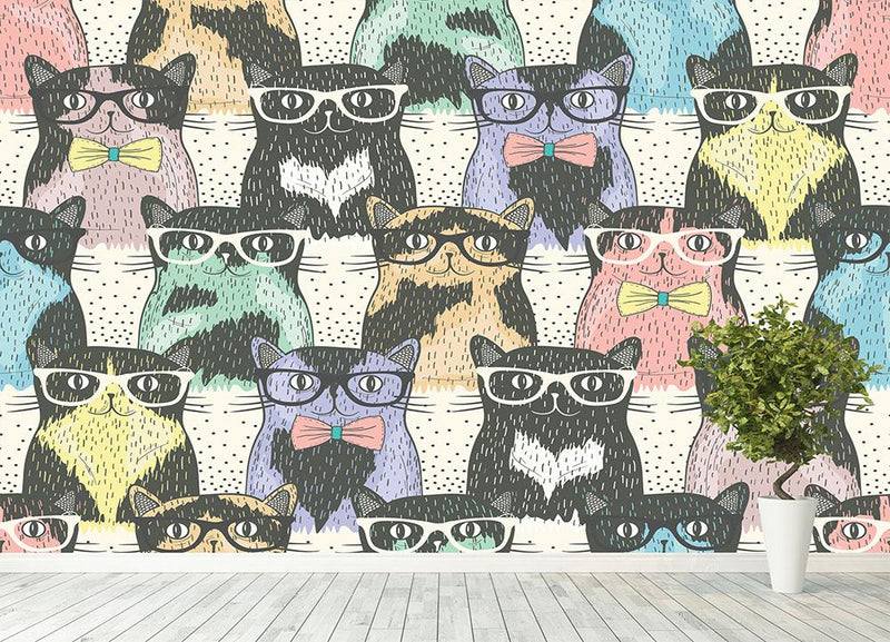 Hipster cute cats Wall Mural Wallpaper - Canvas Art Rocks - 4
