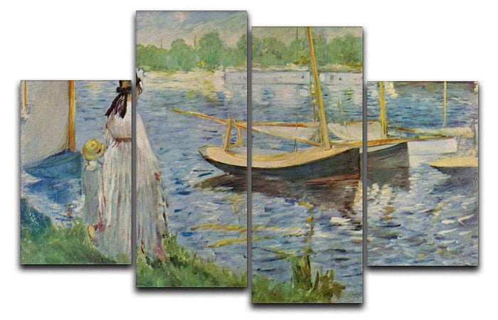 His embankment at Argenteuil by Manet 4 Split Panel Canvas
