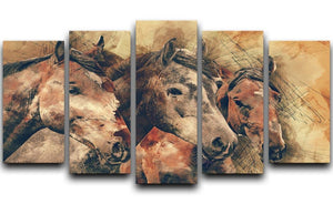 Horse Painting 5 Split Panel Canvas  - Canvas Art Rocks - 1