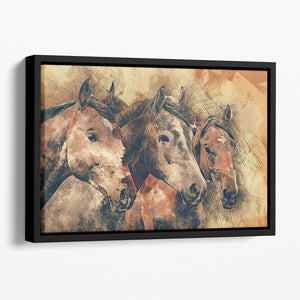 Horse Painting Floating Framed Canvas