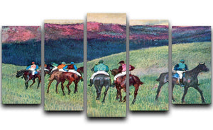 Horse racing The training by Degas 5 Split Panel Canvas - Canvas Art Rocks - 1