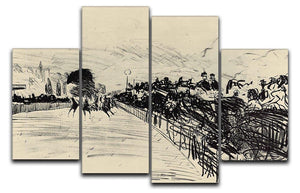 Horse racing by Manet 4 Split Panel Canvas  - Canvas Art Rocks - 1