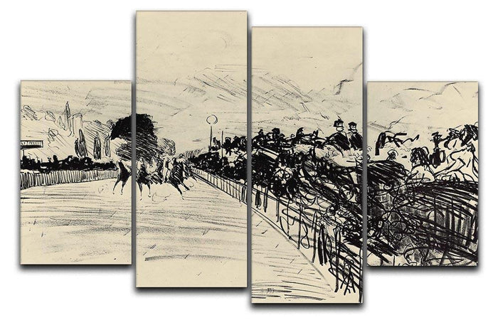 Horse racing by Manet 4 Split Panel Canvas